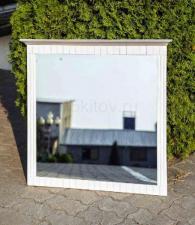 Белое зеркало из сосны до 1 метра, Зеркало в раме из натурального дерева